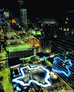 Photo courtesy of Dan Guertin    A nighttime, bird's-eye view of the Texas-shaped lazy river pool on the sixth floor of the Marriott Marquis Houston. Salisbury's Dan Guertin laid the tile for the lazy river and spa connected with the pool at this $360 million hotel, which is a hub of Super Bowl activity this week. The Texas outline of the lazy river is reflected in the floors of the hotel above its sixth-floor terrace.